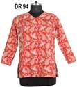 Multicolor Cotton Hand Block Print Women's Short Top Tunic Kurti DR94