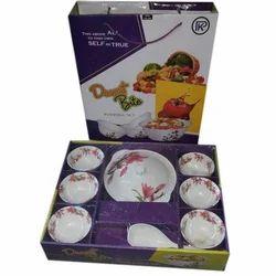 White Printed Pudding Set