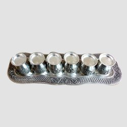 Designer Silver Tray Glass Set