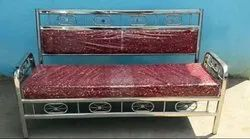 Stainless Steel Maroon Banquet Sofa
