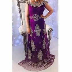 Violet Sleeveless Ladies Embroidered Party Gown, Packaging Type: Packet