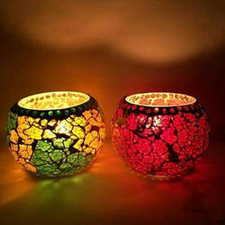 Multicolour And Designer Glass Mosaic T Light Candle Holder