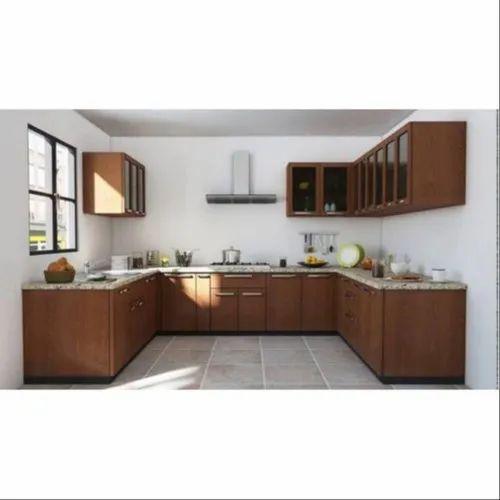 Teak Wood U Shape Modular Kitchen