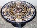 Pashan Kala Marble Pietra Dura Dining Table, For Home, Round