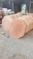 Red Hexagon Stone Slab