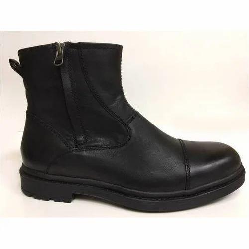 Black Mens Zipper Leather Boots, Size
