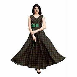 Ethnic Printed Ladies Chiffon Fancy Gown, Size: M-XXL