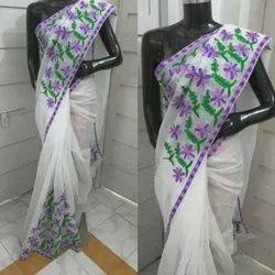 Printed Ladies Supernet Saree, 6.3 m (with blouse piece)