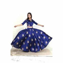 392bf8c06d08 Blue & Golden Printed Fancy Skirt Top Set, Rs 2100 /set | ID ...