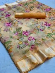 SBF Party Wear Satin Border Printed Linen Saree, 6 m (with blouse piece)