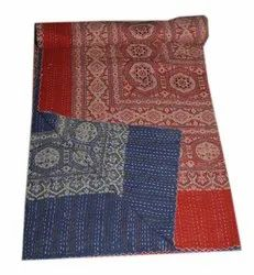 Indian Cotton Handmade Kantha Quilt Ajark Hand Block Bedding Bedspread