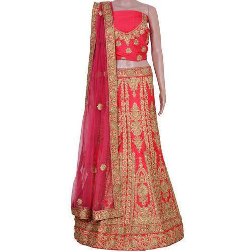 eae8055e05 Satin Gajari Color Fancy Party Wear Semi Stitched Lehenga Choli, Rs ...