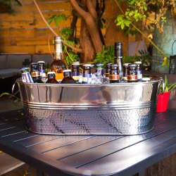 Stainless Steel Hammered Oval Beverage Party Tub