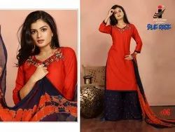 The Ethnic Studio Blue Rose Top Palazzo And Dupatta 3 Piece Collection