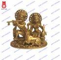 Lord Radha Krishna Sitting W/ Cow Statues