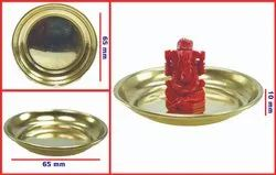Coral Ganesh with Brass Plate