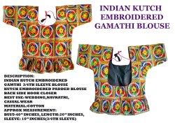 Kutchi Work Gamthi- Indian Readymade 3/4th Sleeve Blouse