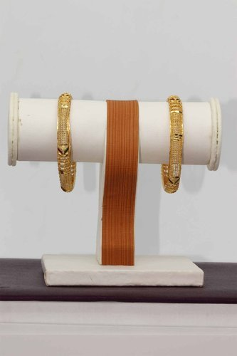 HR Cellular Two Broad Golden Bangles for Women Stylish (HR-713)