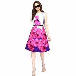 ff75ad8920b6a Printed Party Wear Ladies Fancy Sleeveless Dress