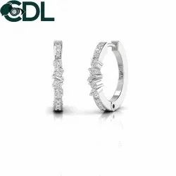 Solid 14kt Natural Diamond Huggie Earrings For Girls Solid White Yellow Rose Gold Jewelry