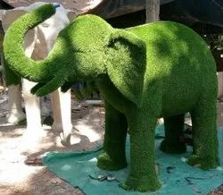 Abhishek Arts Animal FRP Elephant Statues with Artificial Grass
