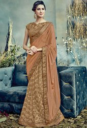 Khaki Brown and Tan Designer Lehenga Saree