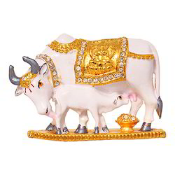 Gold Plated Cow and Calf Car Dashboard Statue Gift Item