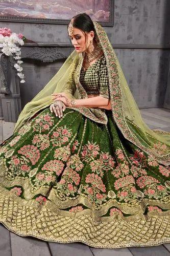 e5bbdc4d8b1d Green Kesar Collection Bridal Designer Lehenga Choli, Net ,green, Rs ...