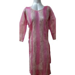 3/4th Sleeve Ladies Banarasi Silk Striped Designer Kurti, Size: S-XL