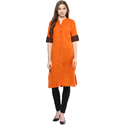 Cotton Orange Half Sleeve Kurti, Size: Xl