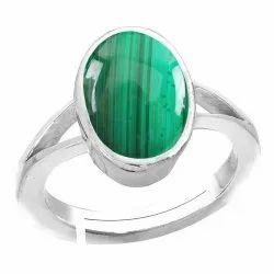 Malachite Stone Ring Silver Gemstone