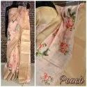 Party Wear Formal Wear Floral Printed Linen Saree, 5.5 M (separate Blouse Piece)