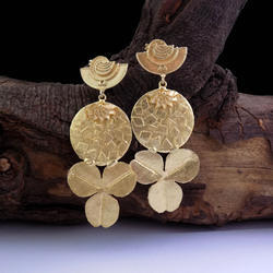 Gold plated Brass Flower Earring