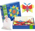 Wooden Pattern Blocks For Various Puzzles And Innovative Shapes With Illustration Cards