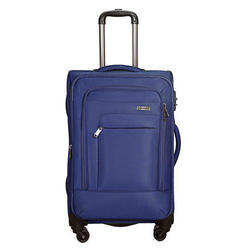 Grey/Red/Brown/Navy Blue Fdy Polyester Shiny Fabric Wheels Trolley Suitcase, Size: 18