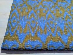 Blue and Yellow  Printed Kantha Bedspread