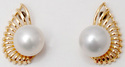 sparkling shiny crown shaped  south sea pearl centered  solid gold earrings