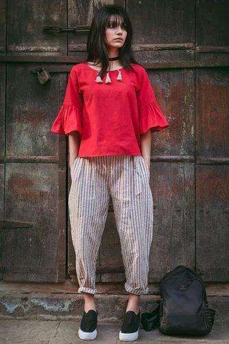 952f97b53d5e Shelina Scorlet Khadi Cotton Stitched Top & Bottom Western Dress ...