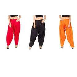 Casual Wear Red, Black And Orange Ladies Cotton Semi Patiala Pajama, Waist Size: S - XXL