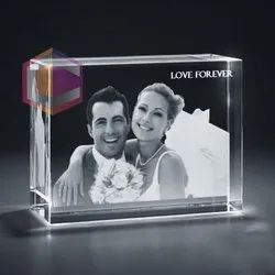 Internal Laser Engraving Anniversary 3d Crystal Cube, 120x80x60mm
