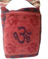 Little India Red Om Print Kantha Work Shoulder Bag, Size: 15