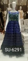 Sequins Anmazing Factory Blue Net Party Wear Gown
