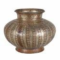 Brown And Silver Pure Copper Lota, Size: 1.5l