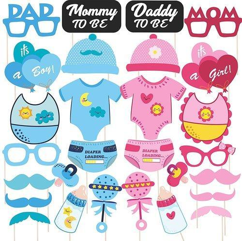 Photo Booth Props For Baby Shower 28 Pcs By Discount Retail Party