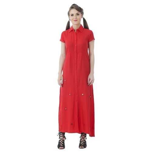 Women Semi Formal Rayon Red Long Dress With Mirror Work b6ec00fa5