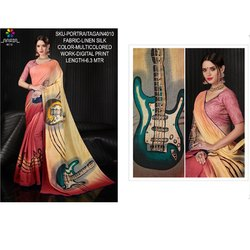 Rachna Linen Silk Digital Printed Portrait Again Catalog Saree For Women 10