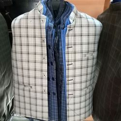 Blue And Black Wool Check Nehru Jacket, Size: 40 And 42