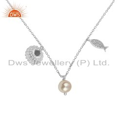 Handmade Charm 925 Sterling Fine Silver Natural Pearl Necklace