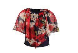 Girls Georgette Floral Printed Navy Sleeveless Top