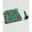 Beautiful Blue Pink Flower Motif Canvas Coin Pouch